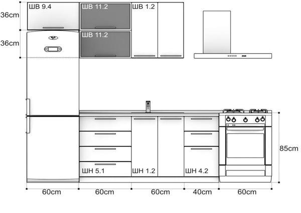 Стандартная планировка кухни